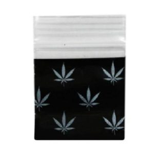 Black Happy Herb Bag 25x25mm